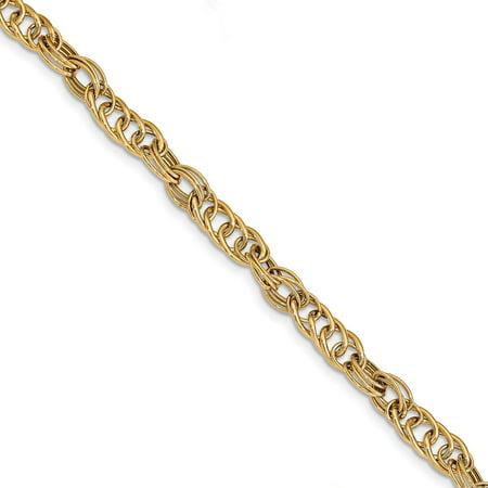 Solid 14k Yellow Gold Polished Fancy Link Bracelet 7.5