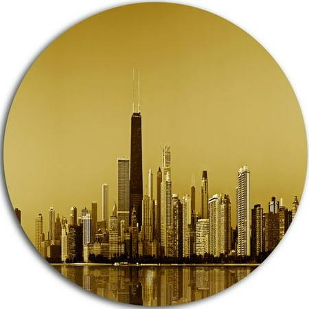 DESIGN ART Designart 'Chicago Gold Coast with Skyscrapers' Cityscape Disc Metal Artwork - Gold Corset