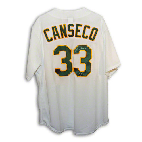 "MLB - Jose Canseco Autographed Oakland Athletics White Majestic Jersey Inscribed ""88 AL MVP"""
