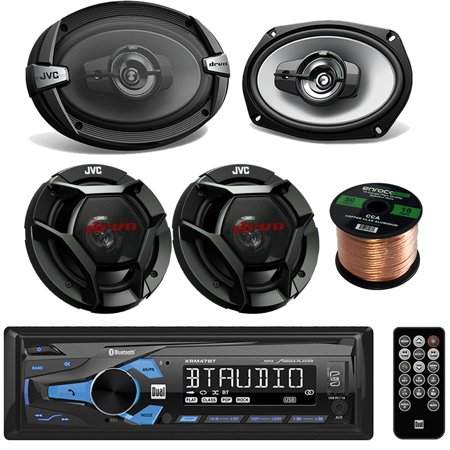 Dual Digital Receiver With Bluetooth And Charging Usb 3.5Mm Aux Bundle Combo With 2x JVC 6x9