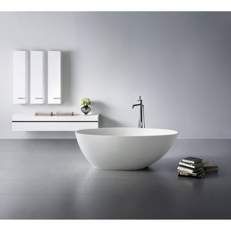 Kingston Brass 63-Inch Solid Surface White Stone Freestanding Oval