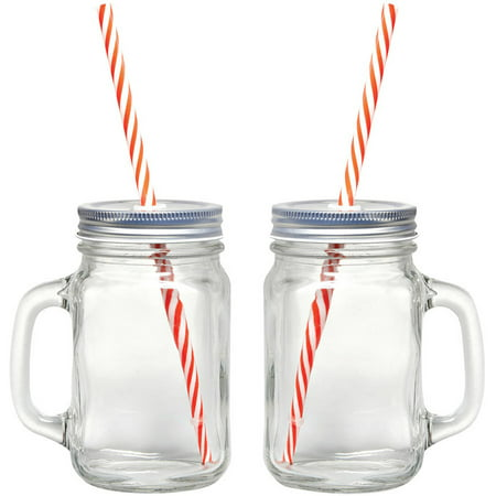 Starfrit Gourmet 080049-006-0000 Mason Jar Mugs, 2 Pk With Straws](Mason Jar Wine Glasses Bulk)