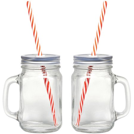 Starfrit Gourmet 080049-006-0000 Mason Jar Mugs, 2 Pk With Straws (Bulk Mason Jar Mugs)