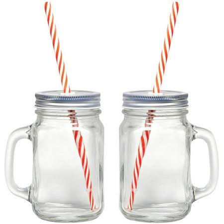 Mason Jar Caps - Starfrit Gourmet 080049-006-0000 Mason Jar Mugs, 2 Pk With Straws