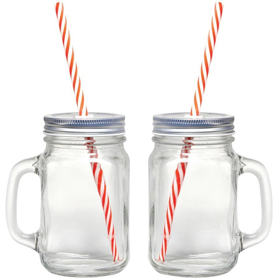 Starfrit Gourmet 080049-006-0000 Mason Jar Mugs, 2 Pk With Straws