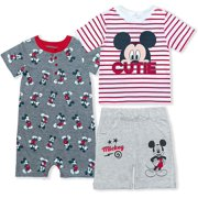 Disney Boy's Mickey Mouse Baby Shorts, Tee and Romper Toddler Clothes Set