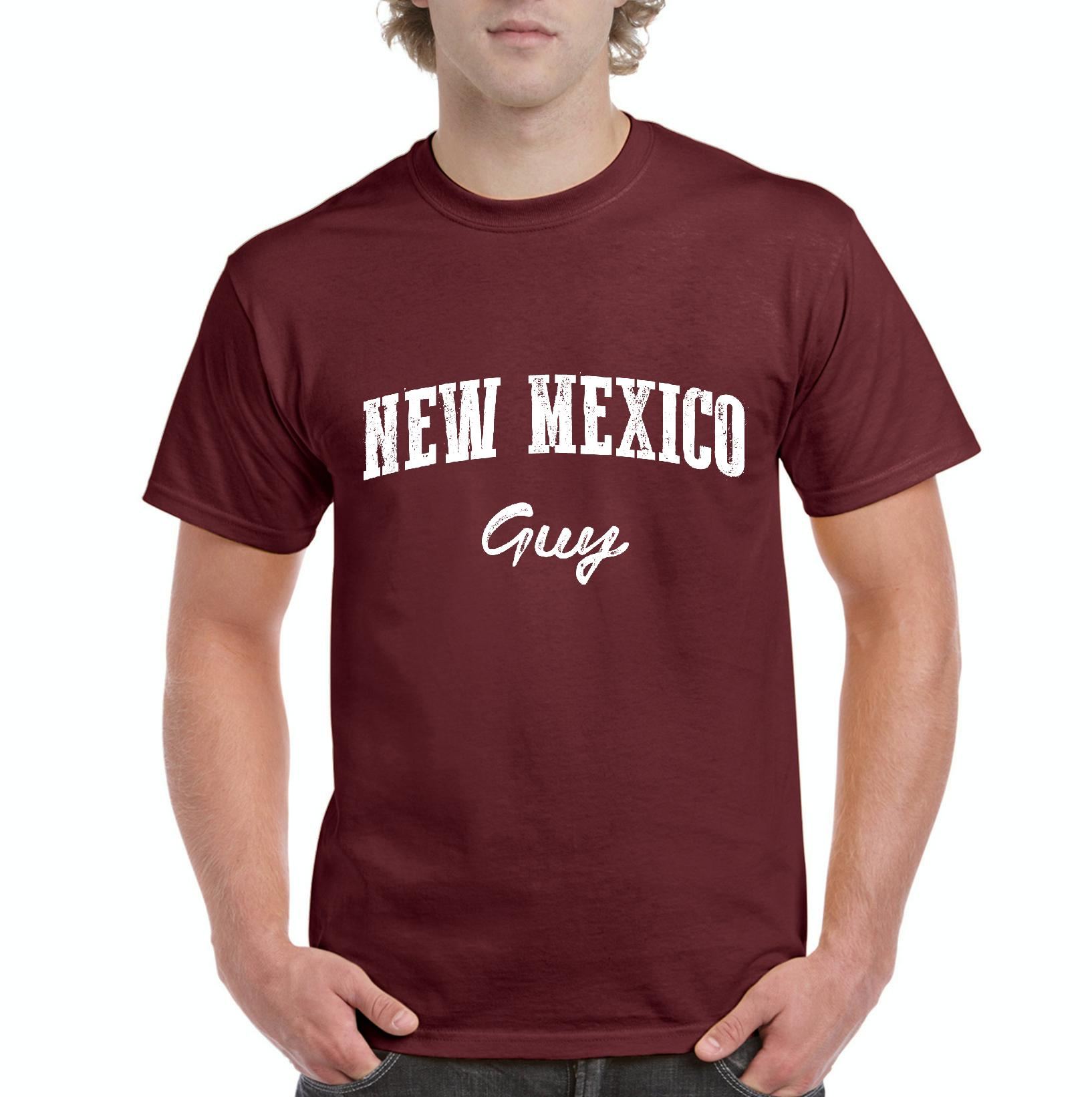 J_H_I NM Guy New Mexico Flag Albuquerque Map Lobos Home University of New Mexico Mens Shirts
