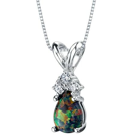 14 Karat White Gold Pear Shape Created Black Opal Diamond Pendant Diamond Pear Opal Pendant