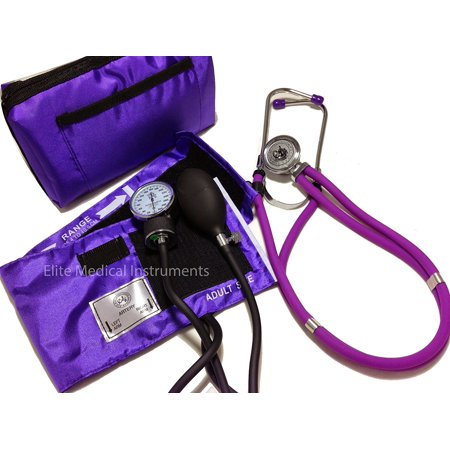 Emi Professional Deluxe Purple Aneroid Sphygmomanometer And Sprague Rappaport Stethoscope Set Kit  330