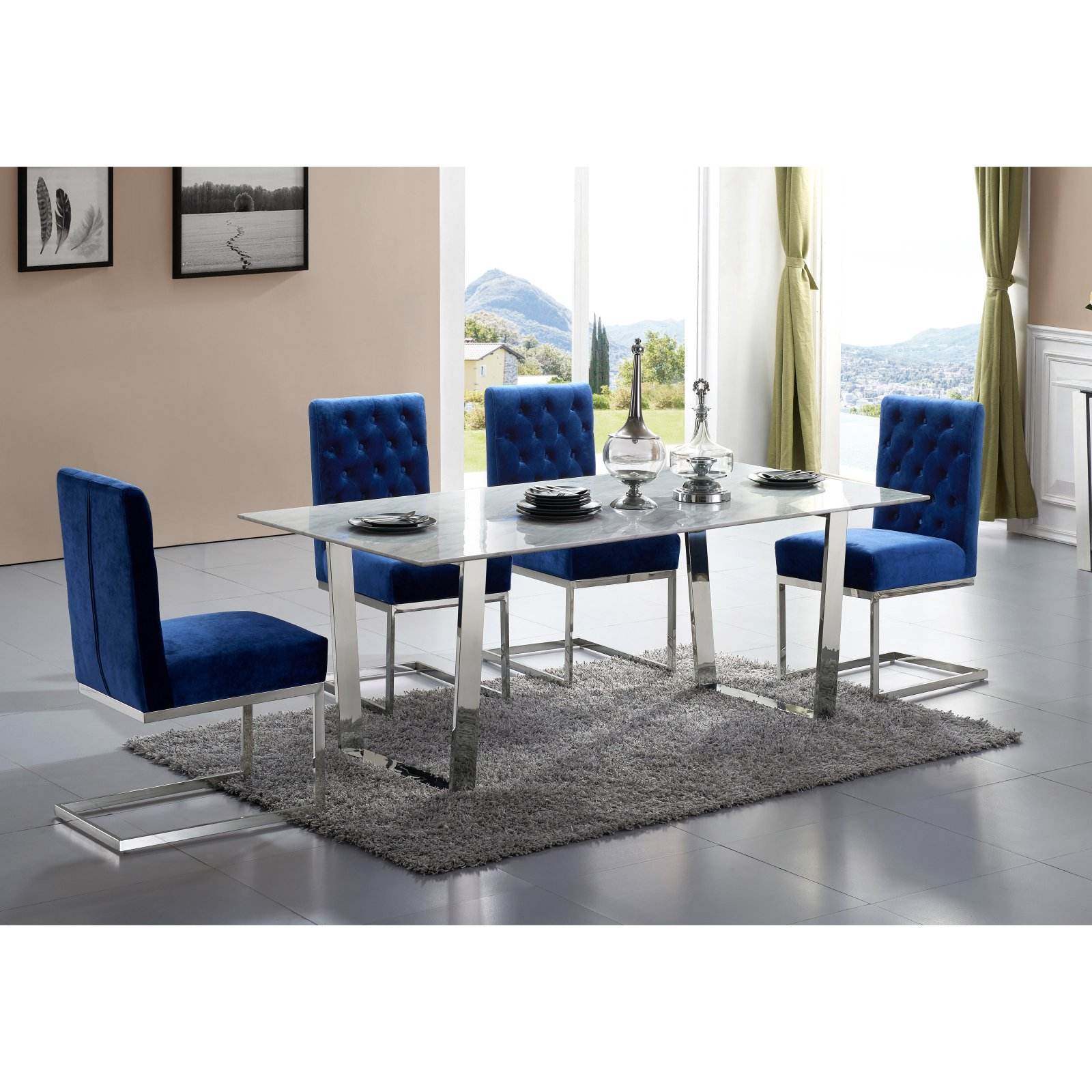 Meridian Furniture Inc Carlton Chrome Dining Table