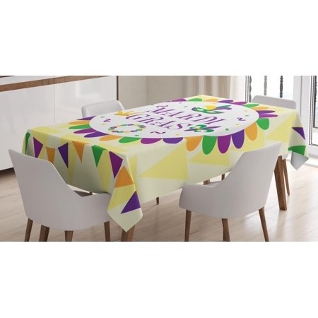 New Orleans Tablecloth Mardi Gras Carnival Theme With Traditional Motifs On Triangle Shapes Background