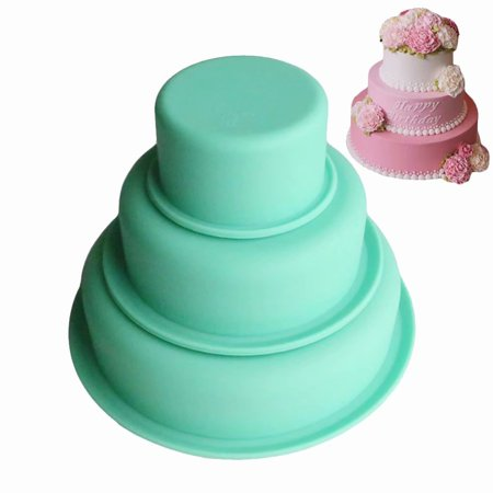3-Layer Round Silicone Cake Mold Pan Muffin Chocolate Pizza Pastry Baking Tray Mould baking - Cake Pop Tools
