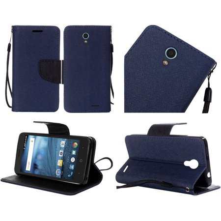 For ZTE Avid TRIO Cheers PU Leather Flip Wallet Credit Card - Dark (Old Navy Credit Card Customer Service Contact)