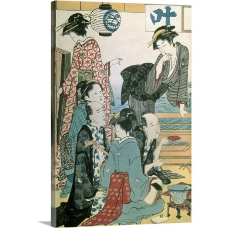 Great BIG Canvas | Torii Kiyonaga Premium Thick-Wrap Canvas entitled Women of the Gay Quarters, left hand panel of a diptych Left Hand Panel