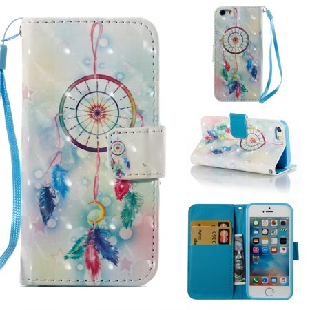 iPhone 5 5S Case Wallet, iPhone SE Case, Allytech [3D Diamond Bling Design] PU Leather Magnetic Folio Cover & Credit Card Slots Pocket, Kickstand Slim Case for Apple iPhone 5 5S SE (Dream Catcher) (cute dream catcher iphone 5)