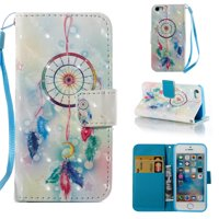 iPhone 5 5S Case Wallet, iPhone SE Case, Allytech [3D Diamond Bling Design] PU Leather Magnetic Folio Cover & Credit Card Slots Pocket, Kickstand Slim Case for Apple iPhone 5 5S SE (Dream Catcher)