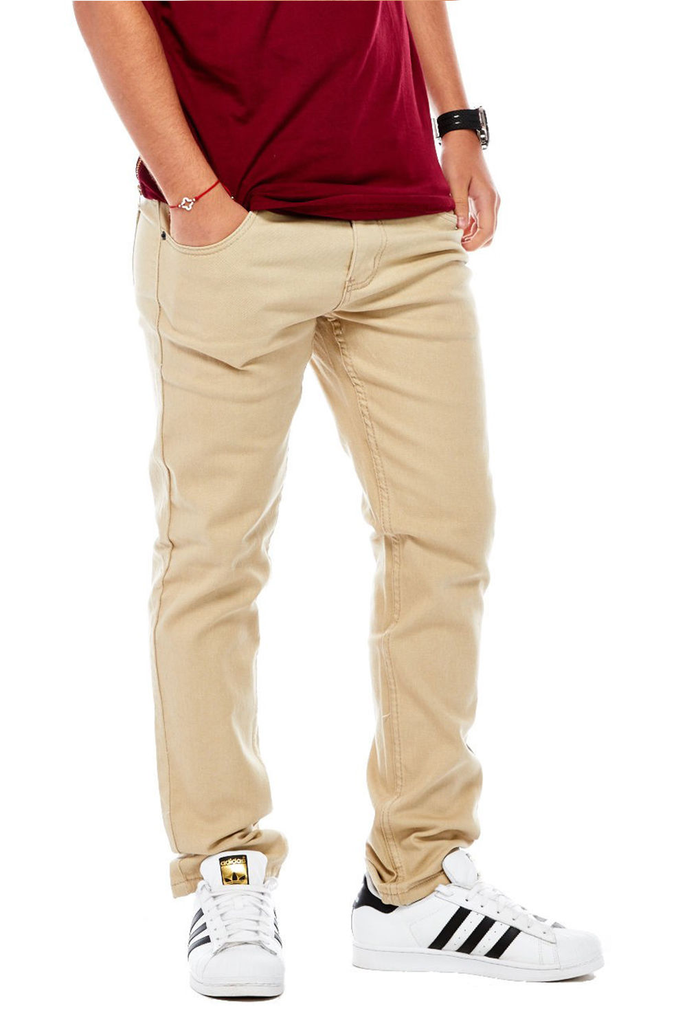 Victoriouse Mens Skinny Fit Denim Pants Jeans Brand Basic Slim Cut DL-937-28W x 30L-White