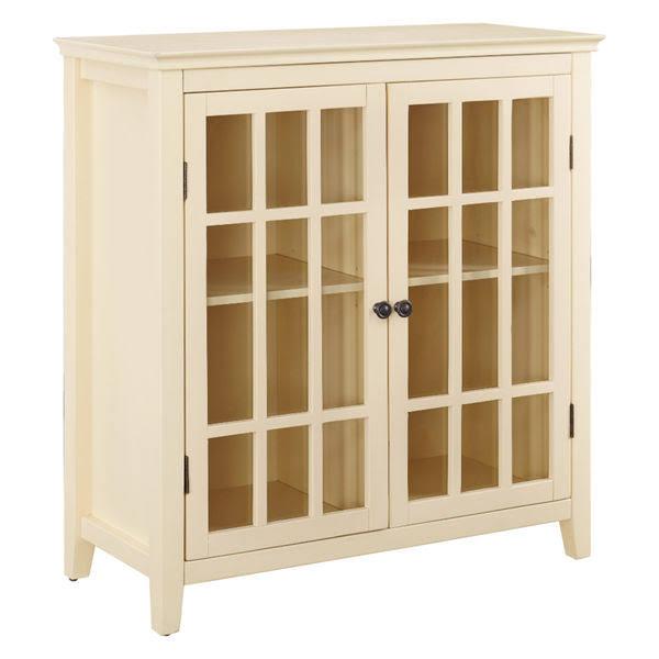 Leslie Double Door Cabinet, Pale Yellow, Glass Front Doors