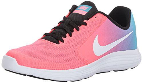 NIKE Girls' Revolution 3 Running Shoe (GS), Chlorine US Blue/White/Racer Pink/Black, 6 M US Chlorine Big Kid 461a2b