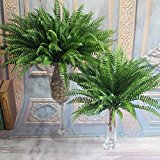 Leadingstar Natural Artificial Large Silk Boston Fern Plant Green Grass Home Wedding