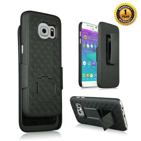 Encust Shell Holster Slim Black Case for Samsung Galaxy S7 Edge with Kick-Stand & Belt Clip Holster & 1-year Warranty