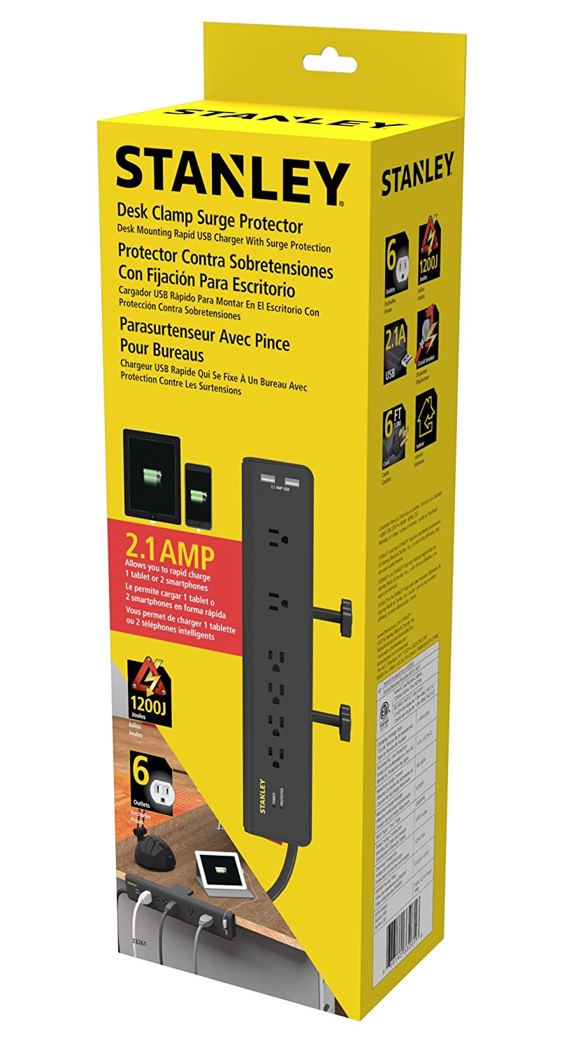 Stanley Desk Clamping Surge Protector With Usb Charging Ports