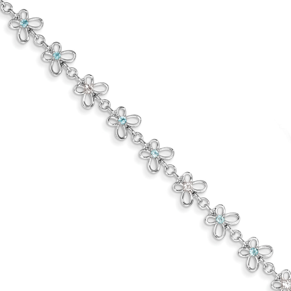 Sterling Silver Blue Topaz and Diamond Bracelet .007 dwt .46 cwt by