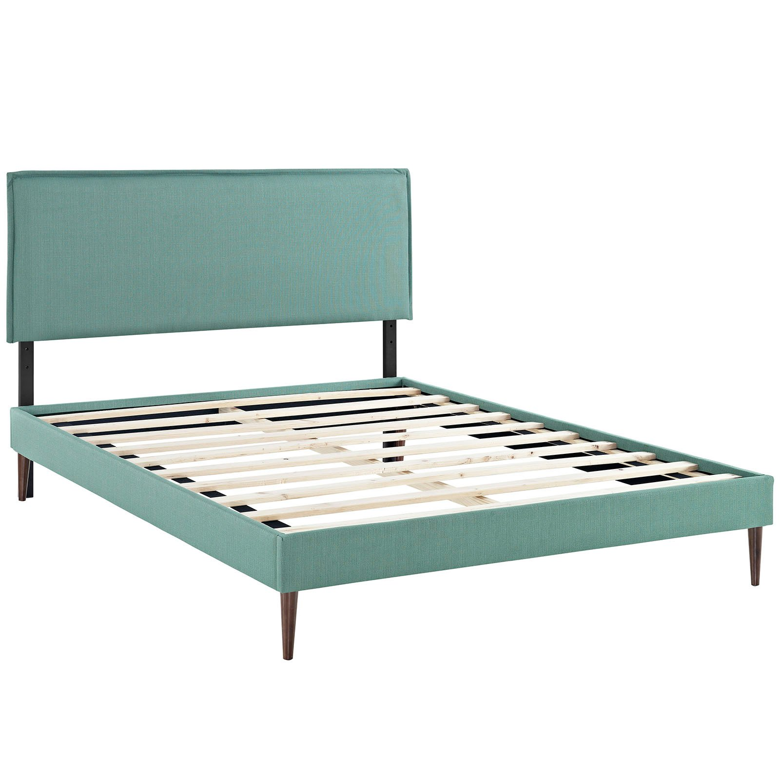 Modway Camille Queen Upholstered Platform Bed with Round Tapered ...