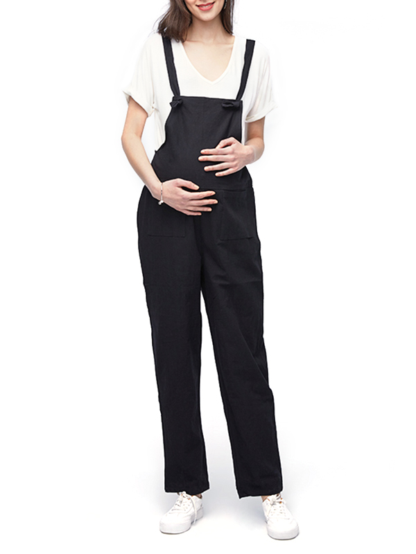 Maternity Casual Loose No Button Straps Front Pocket Pregnancy Jumpsuits