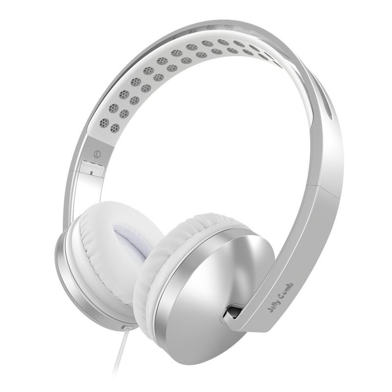 On Ear Headphones with Mic, Jelly Comb Foldable Corded Headphones Wired Headsets with Microphone, Volume Control for Cell Phone, Tablet, PC, Laptop, MP3/4, Video Game (Silver & White)