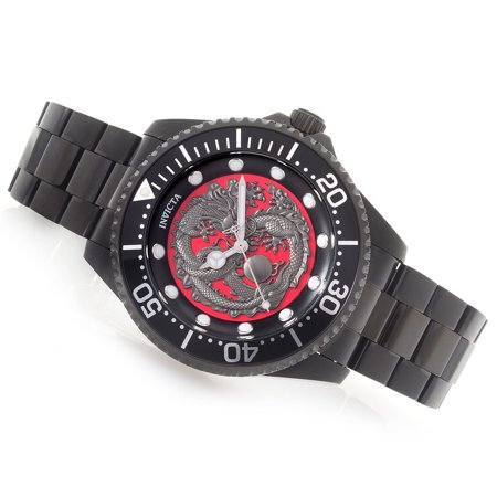 Invicta Men's 47mm Pro Diver Dragon Automatic Stainless Steel Watch Black 26492 (Invicta Watch 47mm)