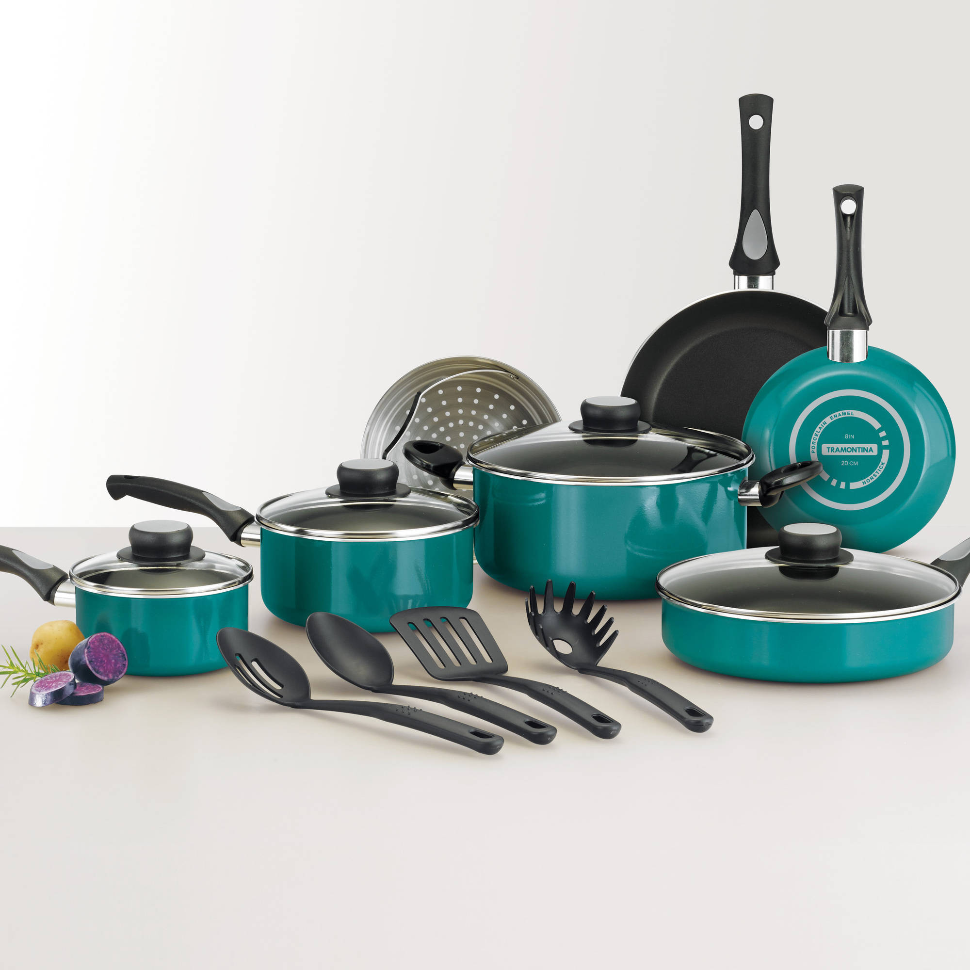 Tramontina 15-Piece Select Non-Stick Cookware Set, Teal