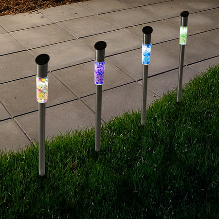 Solar Outdoor LED Light, Battery Operated Stainless Steel Mosaic Column Path and Walkway Lights For Landscape, Patio, Pathways by Pure