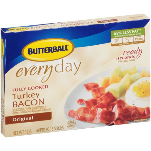 Butterball Every Day Original Fully Cooked Turkey Bacon, 3 oz