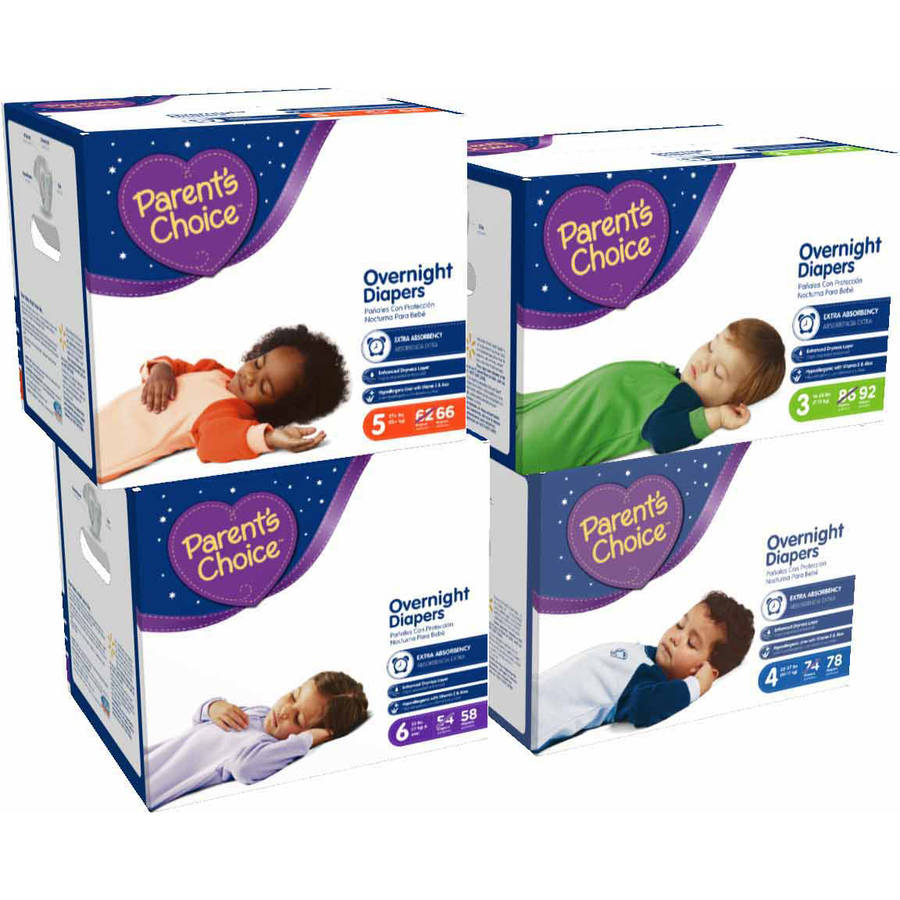 Parent's Choice Overnight Baby Diapers, Size 3, 92 Diapers