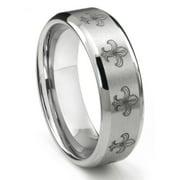 Titanium Kay Tungsten Carbide Fleur De Lis Comfort Fit Mens Wedding Band Ring Sz 10.0