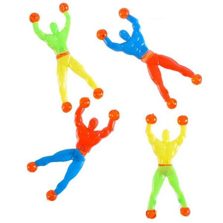Rubber Sticky Wall Climbers –– 12 Pieces Colorful and Stretchable Novelty Toys – Party Favors, Gift Ideas, Playtime, Stimulator, Game Prizes, Goody Bag Fillers, Indoor - Christmas Goodies Ideas
