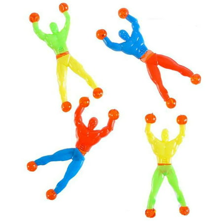 Rubber Sticky Wall Climbers –– 12 Pieces Colorful and Stretchable Novelty Toys – Party Favors, Gift Ideas, Playtime, Stimulator, Game Prizes, Goody Bag Fillers, Indoor Activity