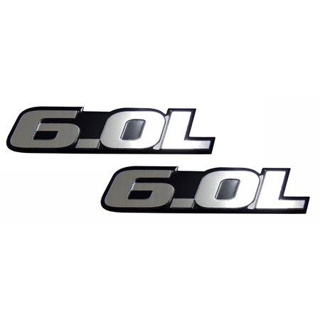 Ford F350 Emblems (2 x 6.0L Liter Engine Silver Aluminum Badge OLD SKOOL Emblems (pair/set of 2) for Ford Excursion F250 F350 Turbo Diesel Super Duty Truck Power Stroke Diesel Engine)