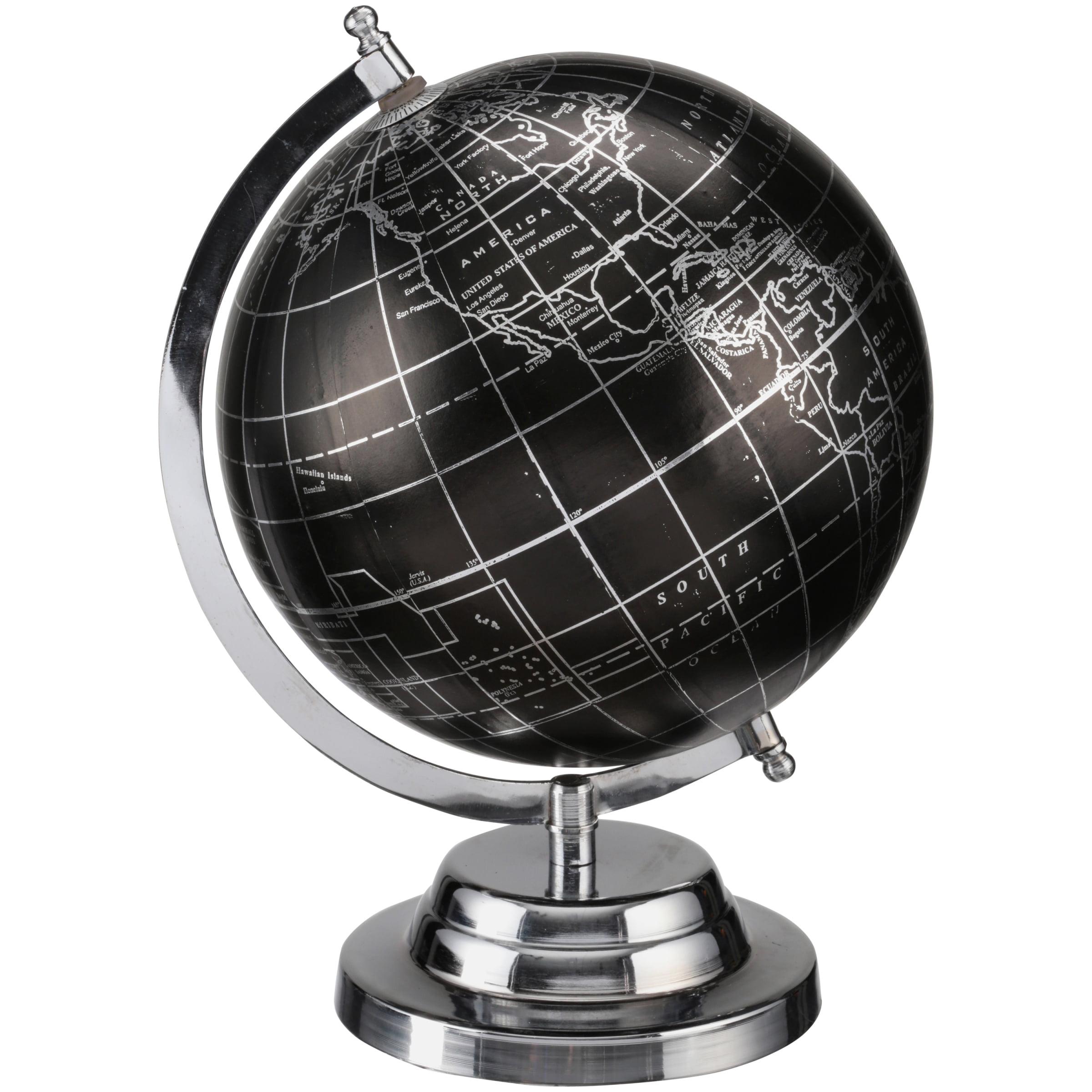 "Mainstays 12""H Black and Silver Decorative World Globe"