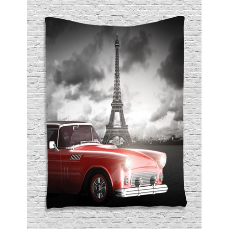 Paris decor wall hanging tapestry fancy vintage car with for Vintage car bedroom ideas