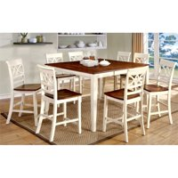 Furniture of America Maxey 9-Piece Extendable Counter Dining Set in White