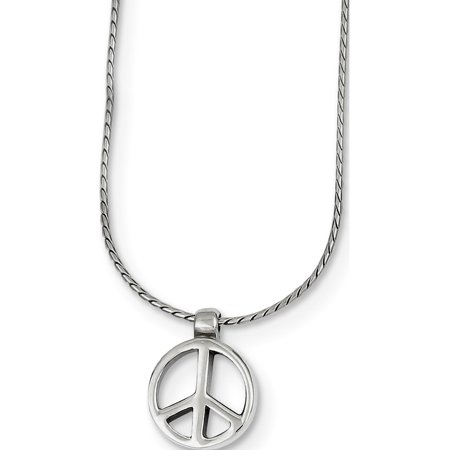 Leslies Fine Jewelry Designer 925 Sterling Silver Rhodium-plated Peace Sign on 16 Chain Necklace (0x16mm) Pendant Gift