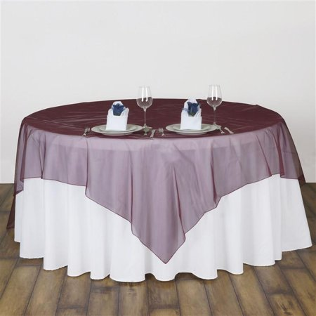 "108"" x 108"" Square Burgundy Sheer Organza Overlay Set of 2"