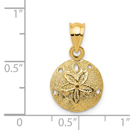 14k Yellow Gold Solid Sand Dollar Sea Star Starfish Pendant Charm Necklace Man Shore Shell Fine Jewelry For Dad Mens Valentines Day Gifts For Him - image 2 de 6