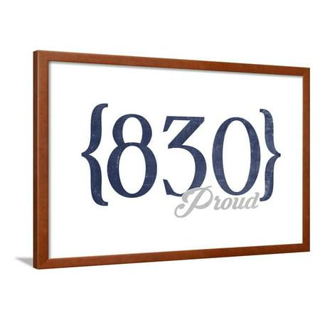 San Antonio, Texas - 830 Area Code (Blue) Framed Print Wall Art By Lantern