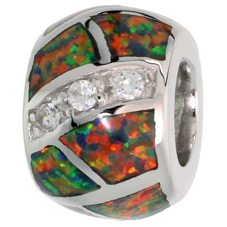 7978459fc WorldJewels - Sterling Silver Synthetic Green Opal Bead Charm CZ stones  Fits Pandora and all Charm Bracelets, 3/8 inch - Walmart.com