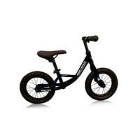 "12"" Push Bikes Steel Frame Air Tire Grip Children Balance Bicycle, Color: Frame Black, Wheel Black"