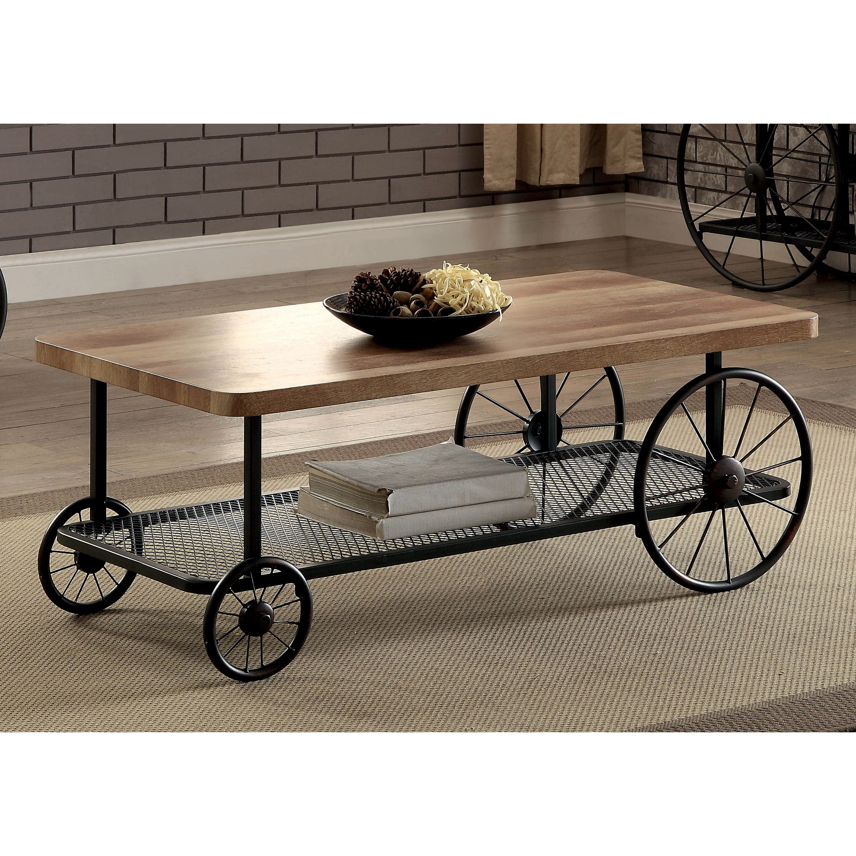 Furniture of America Galen Industrial Style Sand Black Wheeled
