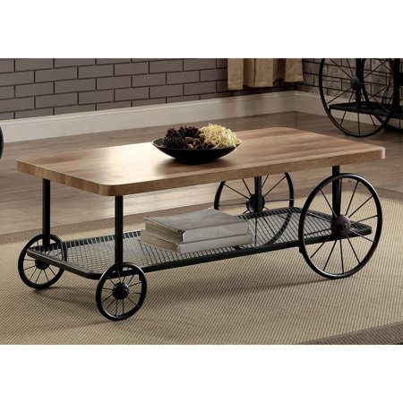 Furniture Of America Galen Style Sand Black Wheeled Coffee Table